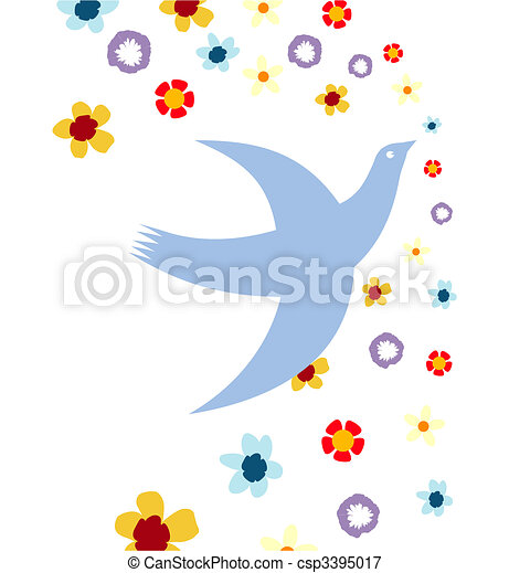 The white background and pigeon flies behind colours - csp3395017