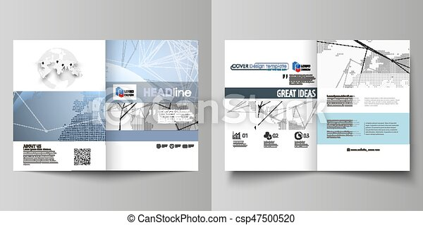 The white colored vector illustration of editable layout of two A4 format modern covers design templates for brochure, flyer, report. World globe on blue. Global network connections, lines and dots. - csp47500520