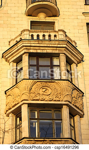 The windows in a large house with balconyand - csp16491296