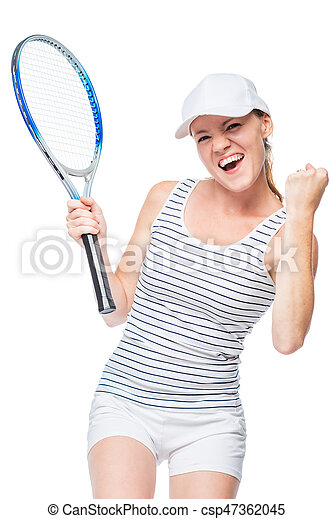 The winning female tennis player is happy on a white background - csp47362045