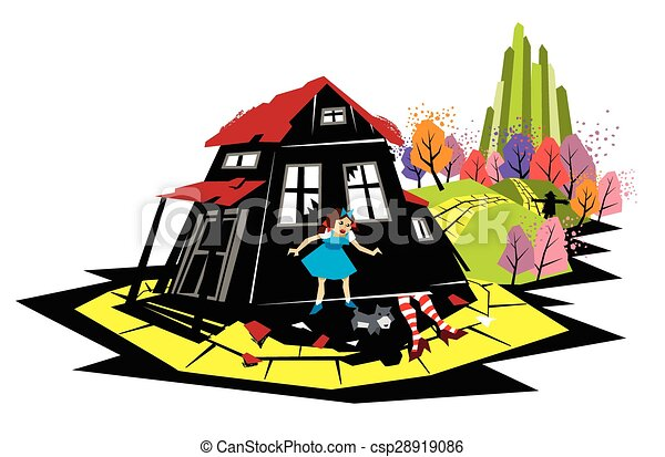 the wizard from oz illustration of dorothy on the yellow vector rh canstockphoto com  follow the yellow brick road clipart