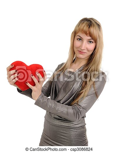 The woman with heart in hands - csp3086824