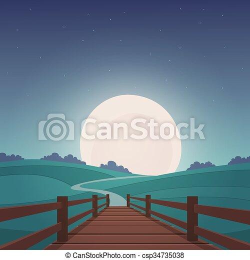 The wooden bridge - Night landscape - csp34735038