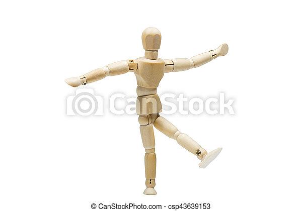 The wooden man dancing - csp43639153