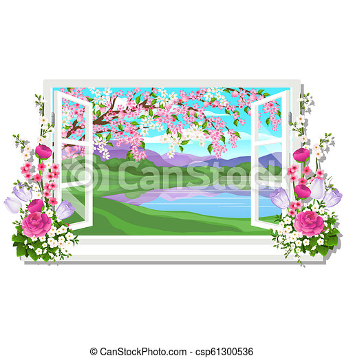 The wooden window overlooking the meadow of green grass and pond in spring isolated on white background. Interior design luxury country house. A lovely day. Vector close-up cartoon illustration. - csp61300536