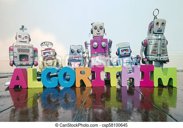 the word ALGORITHIM with wooden letters and retro toy robots on an old wooden - csp58100645