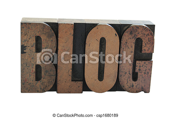 the word 'blog' in old wood letters - csp1680189