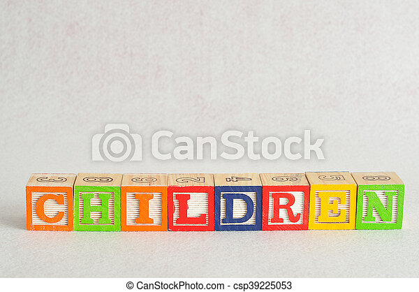 The word children spelled with alphabet blocks isolated on a white background - csp39225053