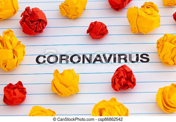 The word Coronavirus with colorful crumpled paper balls around it - csp86862542