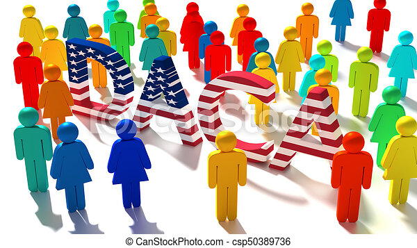 The word DACA with an american flag texture surrounded by a group of differently colored people - csp50389736