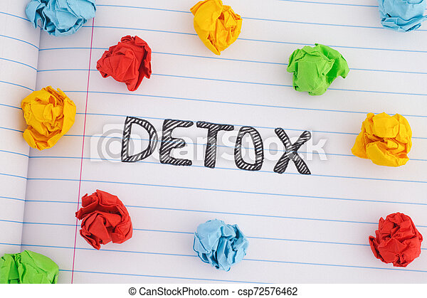 The word Detox on notebook sheet with some colorful crumpled paper balls around it - csp72576462