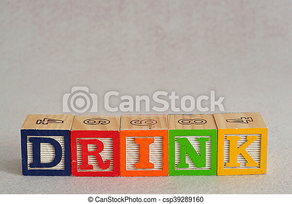 The word drink spelled with alphabet blocks isolated on a white background - csp39289160