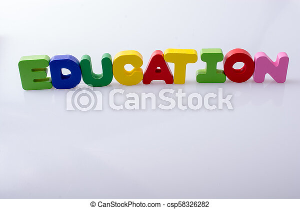 the word EDUCATION written with letter blocks - csp58326282