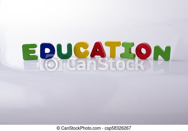 the word EDUCATION written with letter blocks - csp58326267