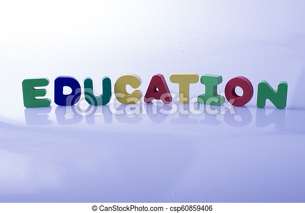 the word EDUCATION written with letter blocks - csp60859406