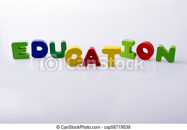 the word EDUCATION written with letter blocks - csp58719539