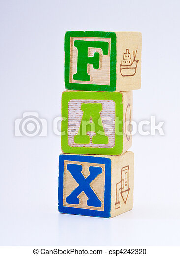 The word fax spelled with blocks - csp4242320