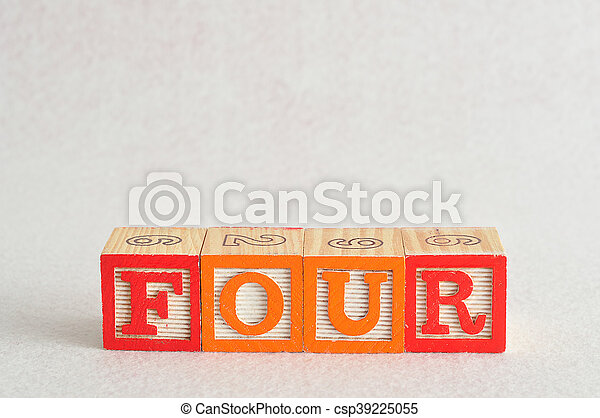 The word four (4) spelled with colorful alphabet blocks isolated against a white background - csp39225055