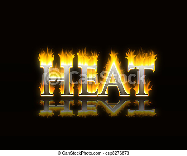 the word heat in flaming fire text - csp8276873