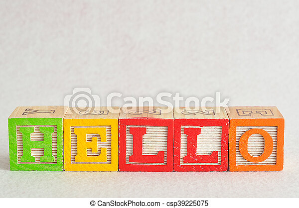 The word hello spelled with colorful alphabet blocks isolated against a white background - csp39225075