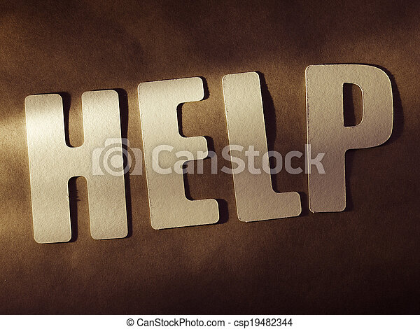 The word Help on paper background - csp19482344