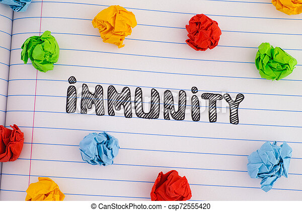 The word Immunity on notebook sheet with some colorful crumpled paper balls around it - csp72555420