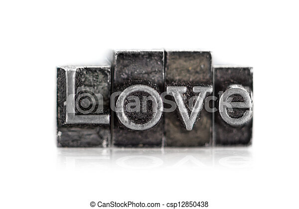 """The word """"love"""" in letterpress type - csp12850438"""