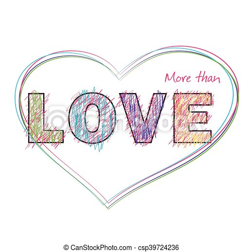 The word love painted childrens style pencil csp39724236