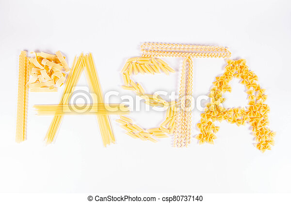 The word 'pasta' spelled with pasta - csp80737140