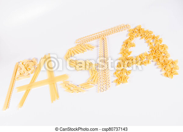 The word 'pasta' spelled with  pasta - csp80737143