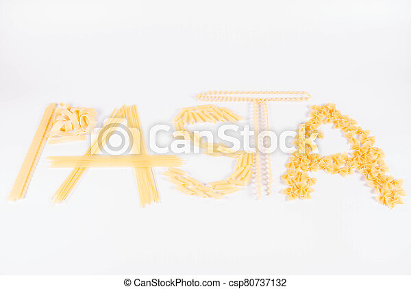 The word 'pasta' spelled with pasta - csp80737132