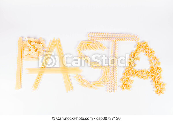 The word 'pasta' spelled with  pasta - csp80737136