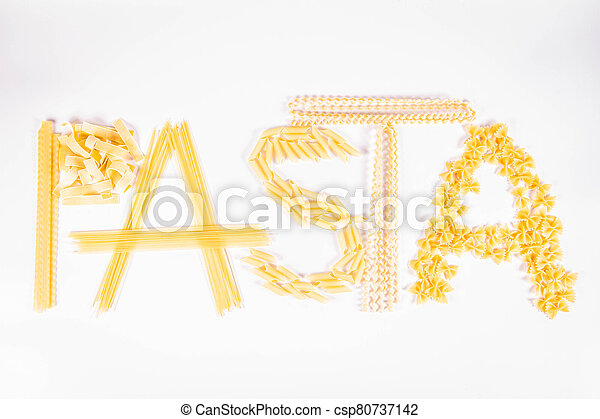 The word 'pasta' spelled with raw pasta - csp80737142