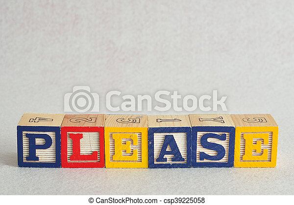 The word please spelled with colorful alphabet blocks isolated against a white background - csp39225058