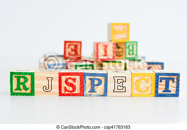 """The word """"respect"""" spelled with wooden letter cubes - csp41763163"""