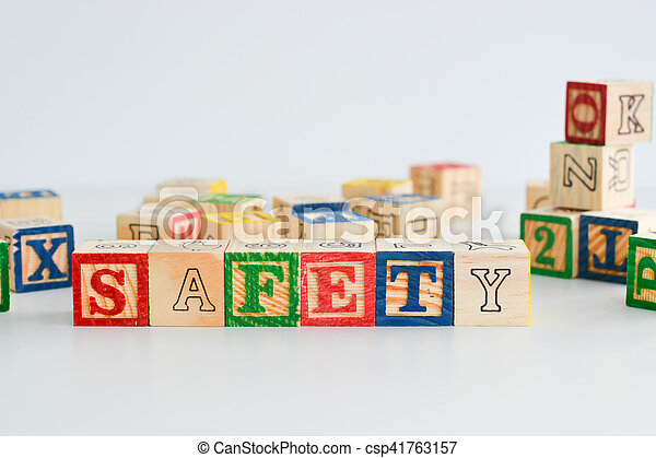 "The word ""safety"" spelled with wooden letter cubes - csp41763157"