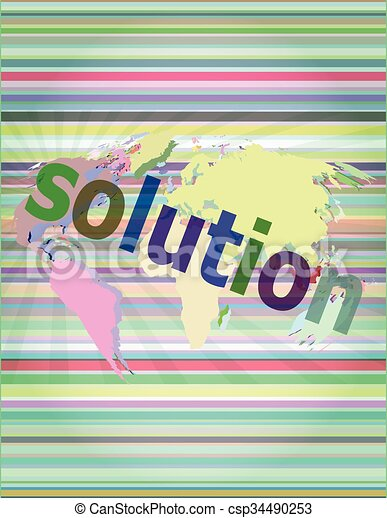 The word solution on digital screen, business concept vector illustration - csp34490253
