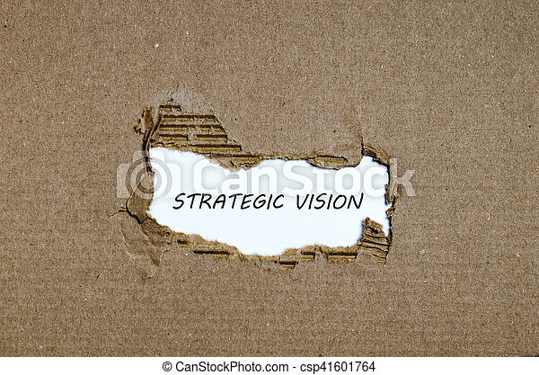 The word strategic vision appearing behind torn paper - csp41601764