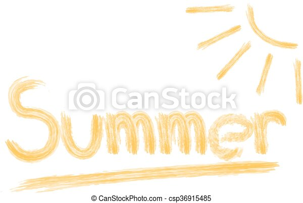vector illustration the word summer in pencil with sun drawing