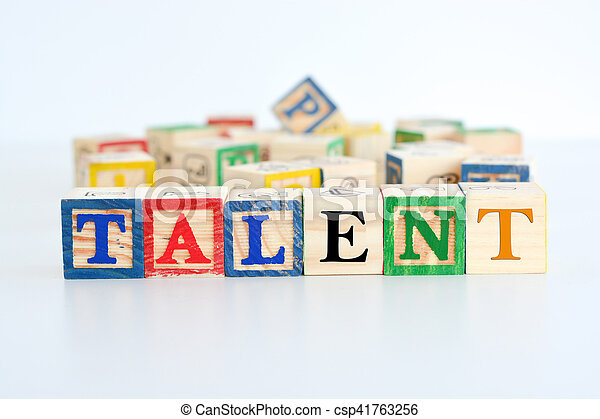 """The word """"talent"""" spelled with wooden letter cubes - csp41763256"""