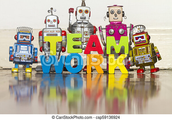 the word TEAM WORK with wooden letters 1 - csp59136924