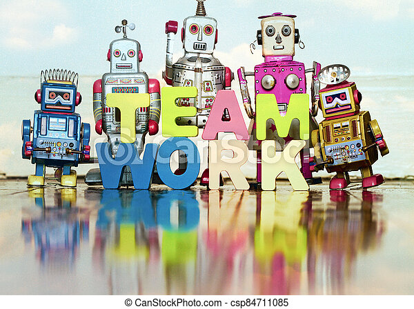 the word TEAM WORK  with wooden letters 1 - csp84711085