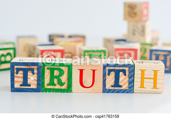 """The word """"truth"""" spelled with wooden letter cubes - csp41763158"""