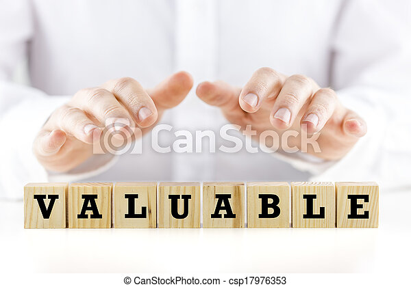 The word - Valuable- on wooden cubes - csp17976353