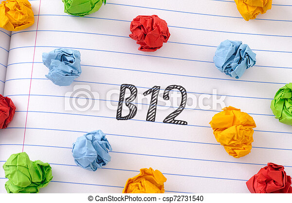 The word Vitamin B12 on notebook sheet with some colorful crumpled paper balls around it - csp72731540