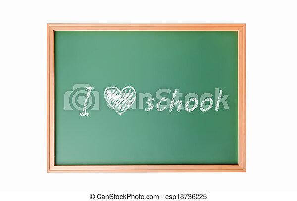 The words 'Back to School' written in chalk school blackboard isolated on white - csp18736225