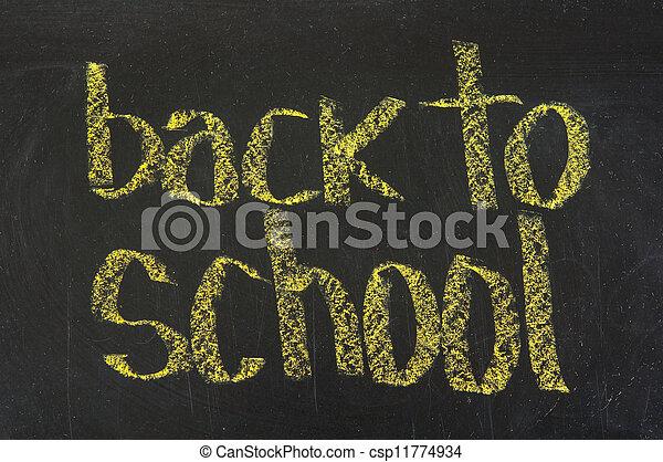 The words 'Back to School' written in chalk on blackboard - csp11774934
