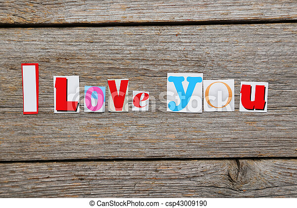 The words i love you in cut out magazine letters stock photographs the words i love you in cut out magazine letters csp43009190 spiritdancerdesigns Images
