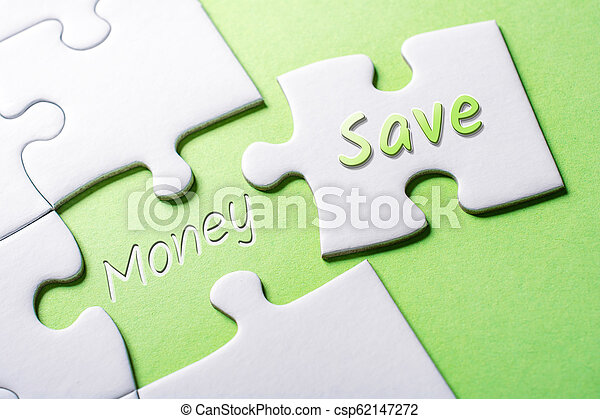 The Words Save And Money In Missing Piece Jigsaw Puzzle - csp62147272