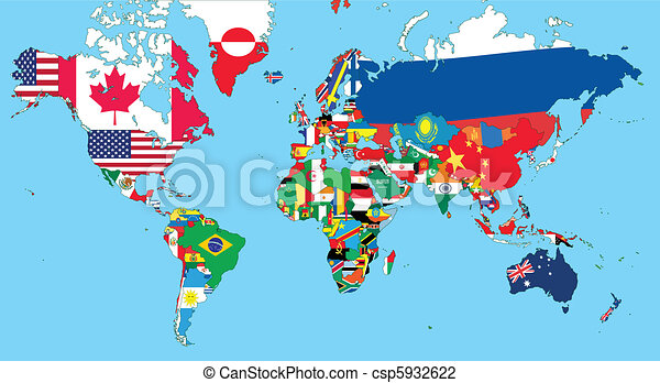 The world map with all states and their flags vector illustration the world map csp5932622 gumiabroncs Choice Image